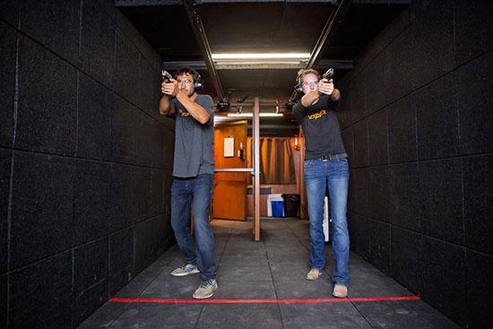 guests shooting at the indoor gun range at TexPlex Park